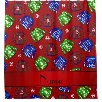 Custom name red ugly christmas sweater pattern shower curtain