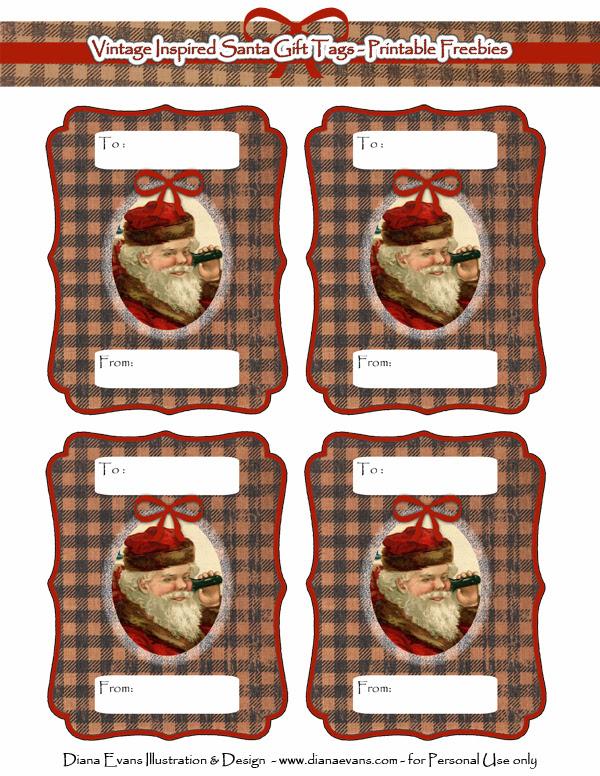 Vintage santa gift tags - web