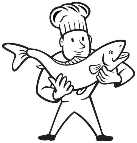 Dibujo De Cocinero Con Un Pescado Para Colorear Dibujos Para