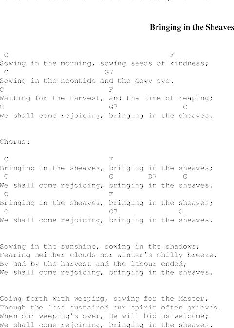 Bringing In The Sheaves Lyrics And Guitar Chords