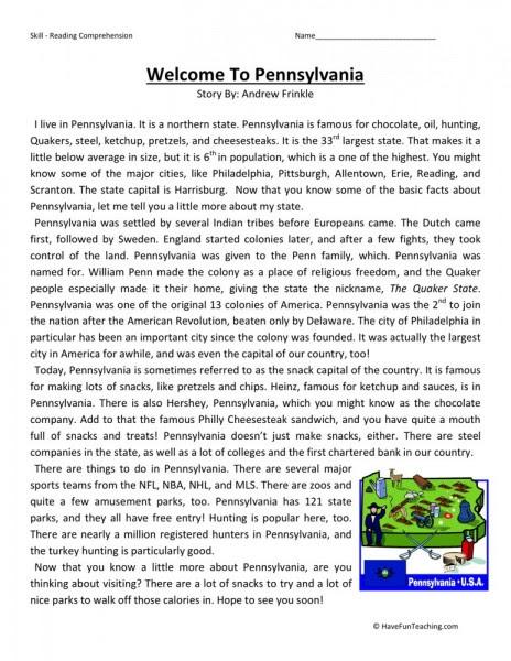 Reading Prehension Worksheet Wel E To Pennsylvania