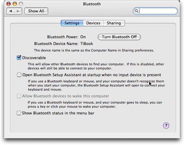 Mac OS X: la configuración de Bluetooth