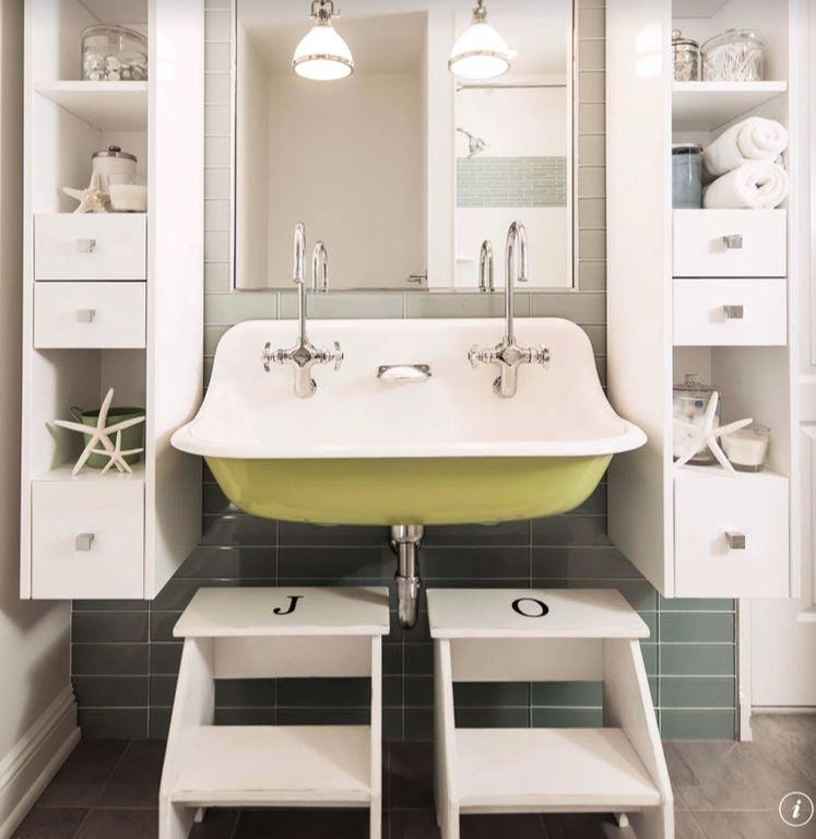 Contemporary Full Bathroom with Wall mounted sink, Pendant light, Kids bathroom, Ikea Bekvam Step Stool