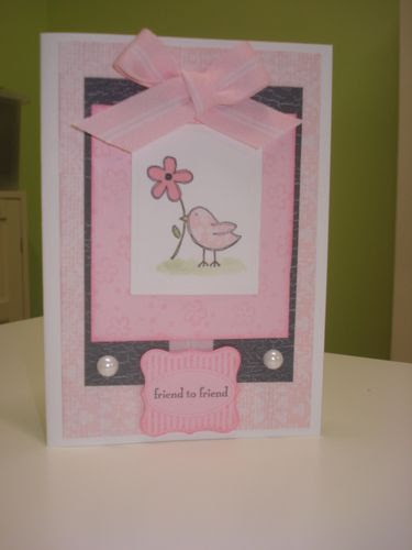 Pink gray bird card