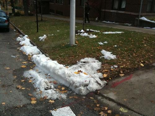 Fake snow, movie set, Rogers Park