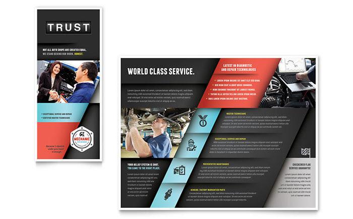 Auto Mechanic Brochure Template - Word & Publisher