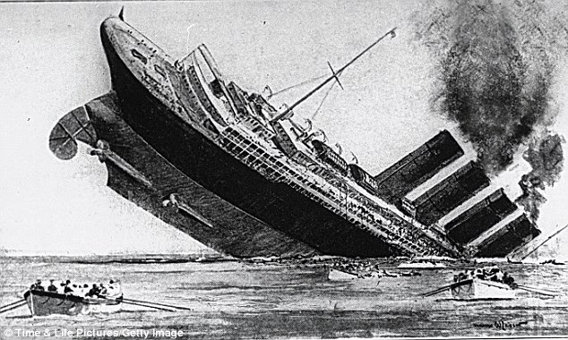 Disaster: A 1915 sketch of the Lusitania passenger ship tragedy in which 1,198 people were drowned