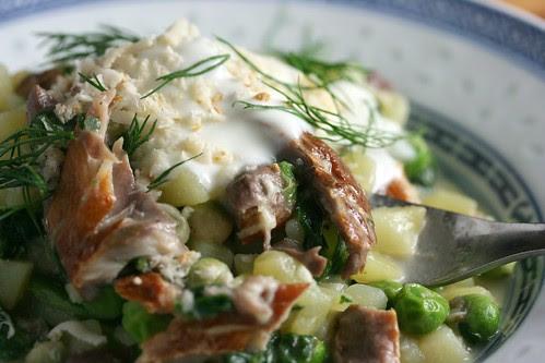 Potato and smoked mackerel risotto close
