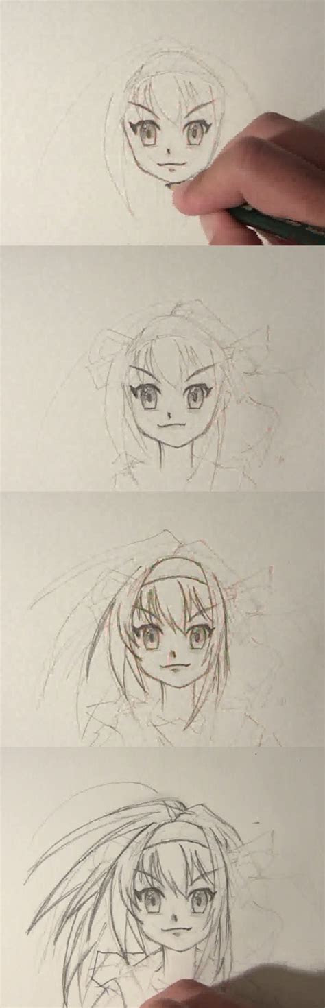 draw anime girl face front view drawing