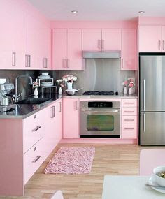 a modern pink kitchen