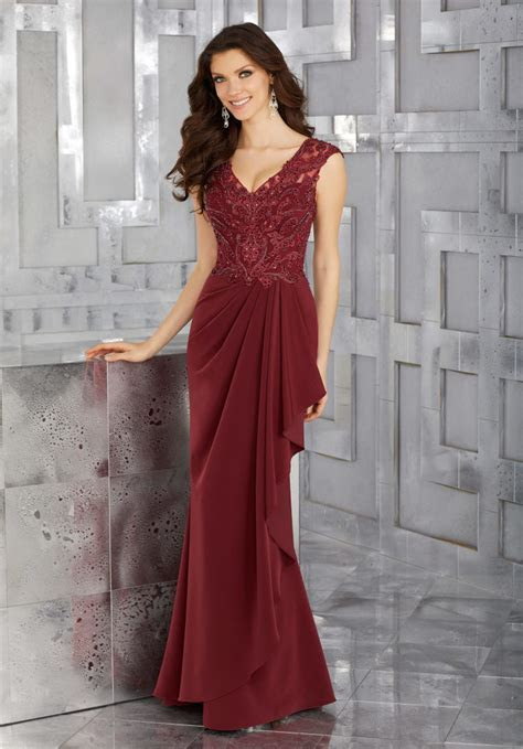 Crepe Mother of the Bride Gown with Beaded Embroidery and