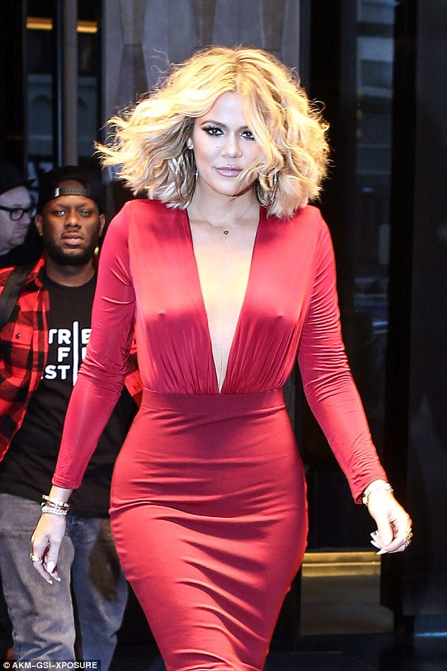 Haute stuff: She also said:'I think keeping it a little private too has really helped us,' Khloe added. 'Mystery is good'; here Khloe is seen on Friday in NYC