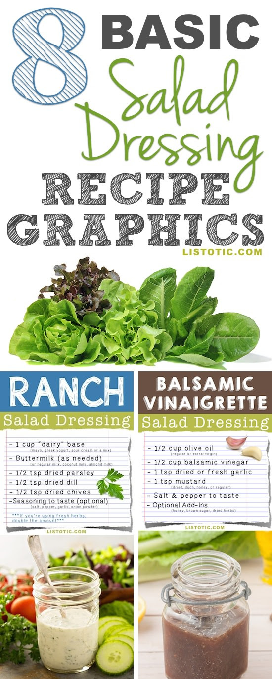 8 Easy Salad Dressing Recipe Graphics ⋆ Food Curation