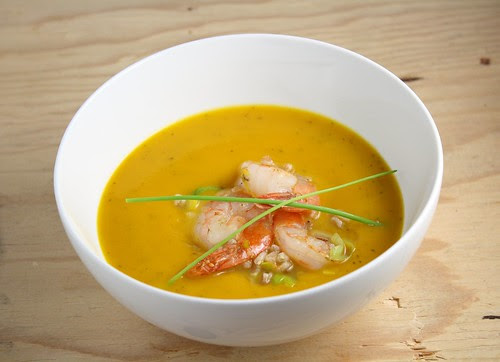 Roasted Pumpkin Soup with Shrimp, Farro, and Leeks