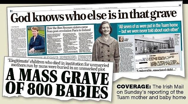 O correio irlandês Na história original de domingo incitou a uma cobertura mais adicional em torno do globo e forçou o governo irlandês anunciar uma comissão especial para investigar o escândalo chocante