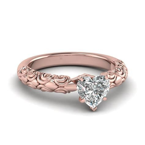 Heart Solitaire Braided Engagement Ring In 14K Rose Gold