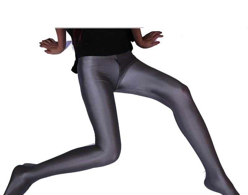 Acheter Sexy Femmes Spandex Brillant Deux Sens Fermeture À Glissière Ouvert  Entrejambe Leggings Pleine Longueur Bas taille Crayon Pantalon Érotique  Lingerie ...