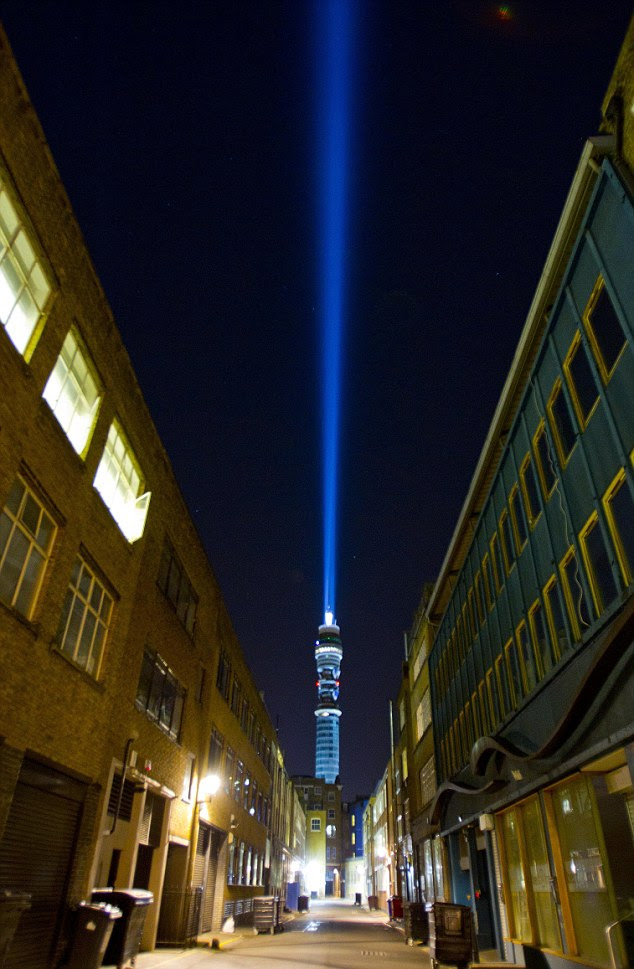 Sixty 4,500kw lights turn the BT tower into a 'lightsaber' beaming a ray of blue light, meant to represent the Jedi weapon from the films