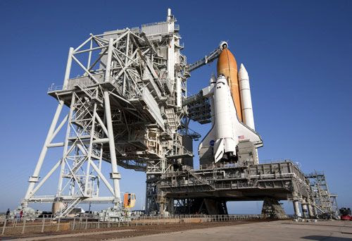 Space shuttle Endeavour stands poised for liftoff at Launch Complex 39A at Kennedy Space Center in Florida, on February 6, 2010.