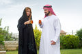 Arabian couple relaxing & drinking tea Stock Images
