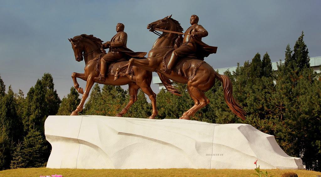 STATUES OF THE GREAT LEADERS ON HORSEBACK PYONGYANG CITY DPRK NORTH KOREA OCT 2012