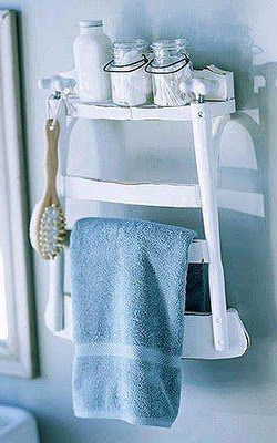 Ideia inicial de Reciclagem!  Uma Cadeira transformada NUMA ESTANTE de e hum do porta TOALHAS.