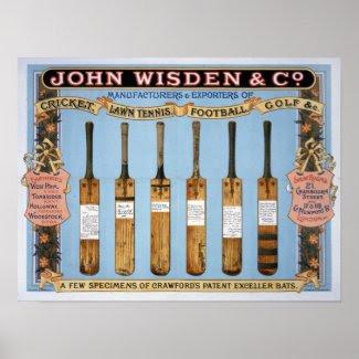Wisden Cricket Bats, 1895 Poster
