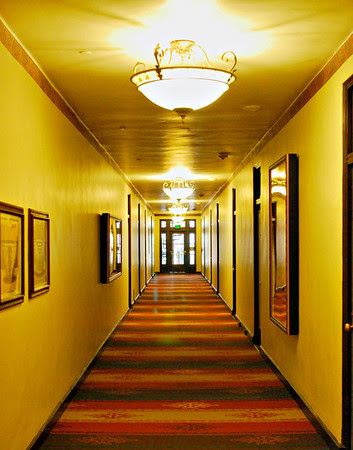 Second floor hallway at the Ahwahnee Hotel