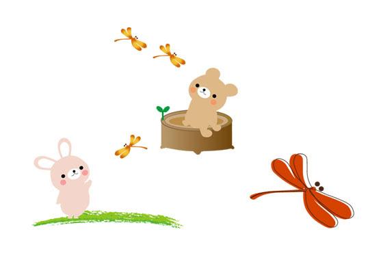 フリー素材 赤トンボと動物達を描いた可愛いイラストセット秋の