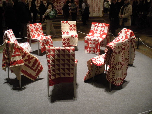 Red & White quilts on chairs