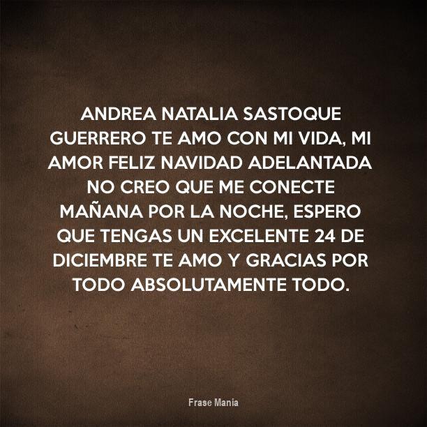 Cartel Para Andrea Natalia Sastoque Guerrero Te Amo Con Mi Vida Mi