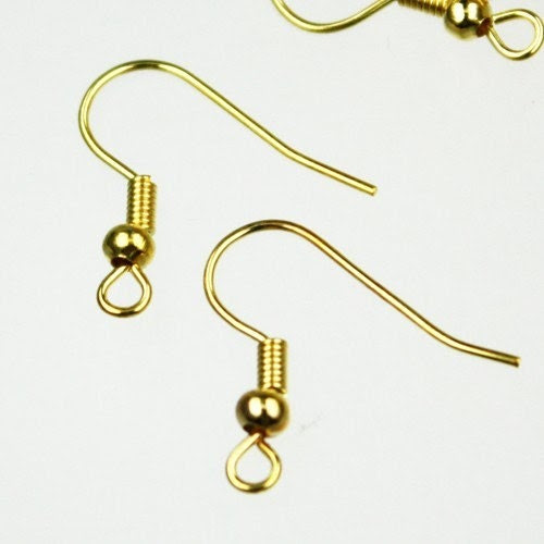 100 pcs of Gold Plated fish Hook with spring and ball Earwire -19X17mm - gemplus24