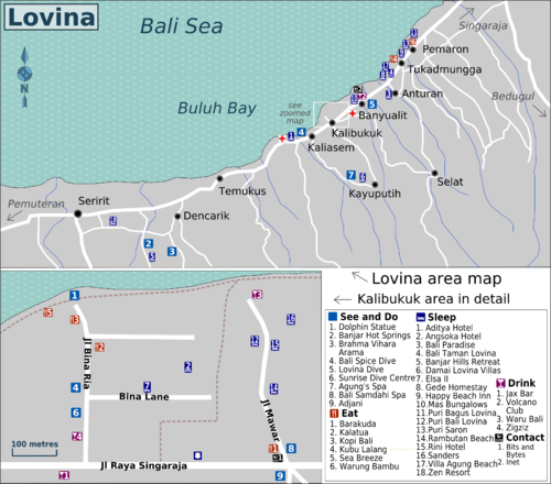 Location Map of the Lovina area Bali,Lovina Area Location Map,excellent Spas, diving and snorkeling spots, Lovina Hills, Banjar Buddhist Temple, Banjar Hot Springs, dolphin sighting trips, Brahma Vihara Arama at Dencarik,Lovina black sand beaches hotels homestays restaurants accommodation map