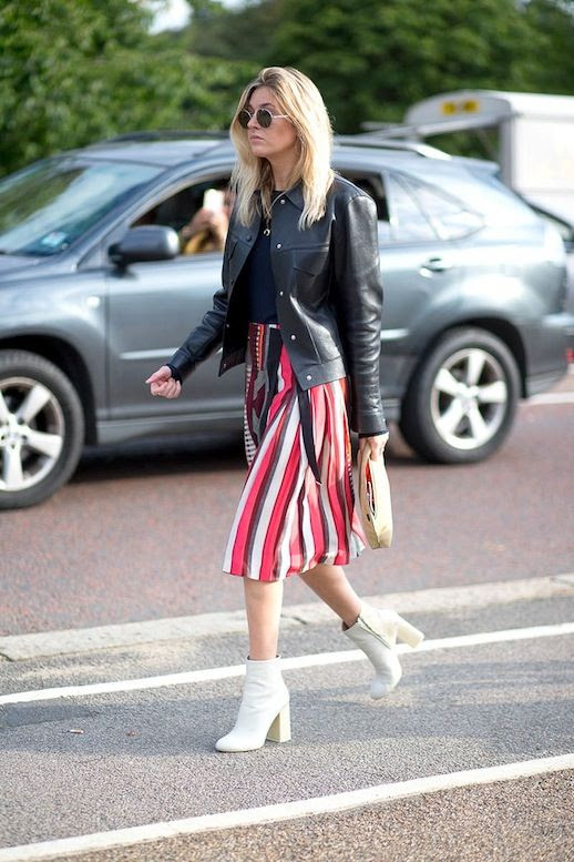 Le Fashion Blog Blogger Street Style Lfw Round Sunglasses Black Leather Jacket Striped Midi Skirt White Ankle Boots Via Harpers Bazaar