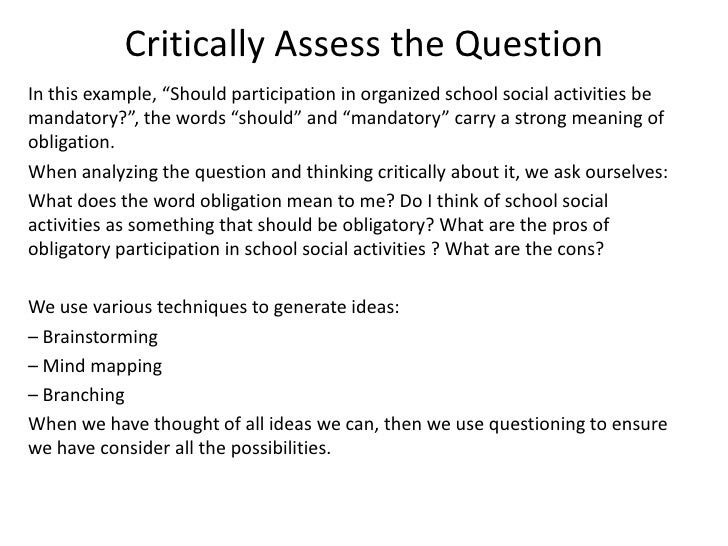critically assess essay example