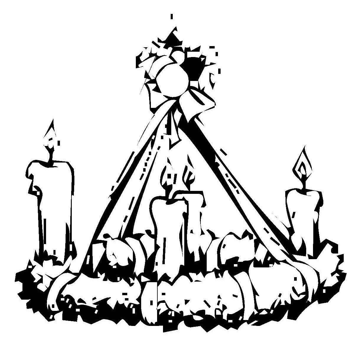 Kostenlose Malvorlage Weihnachten: Adventskranz zum Ausmalen