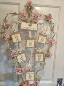 Love heart wedding table plan rustic vintage shabby chic
