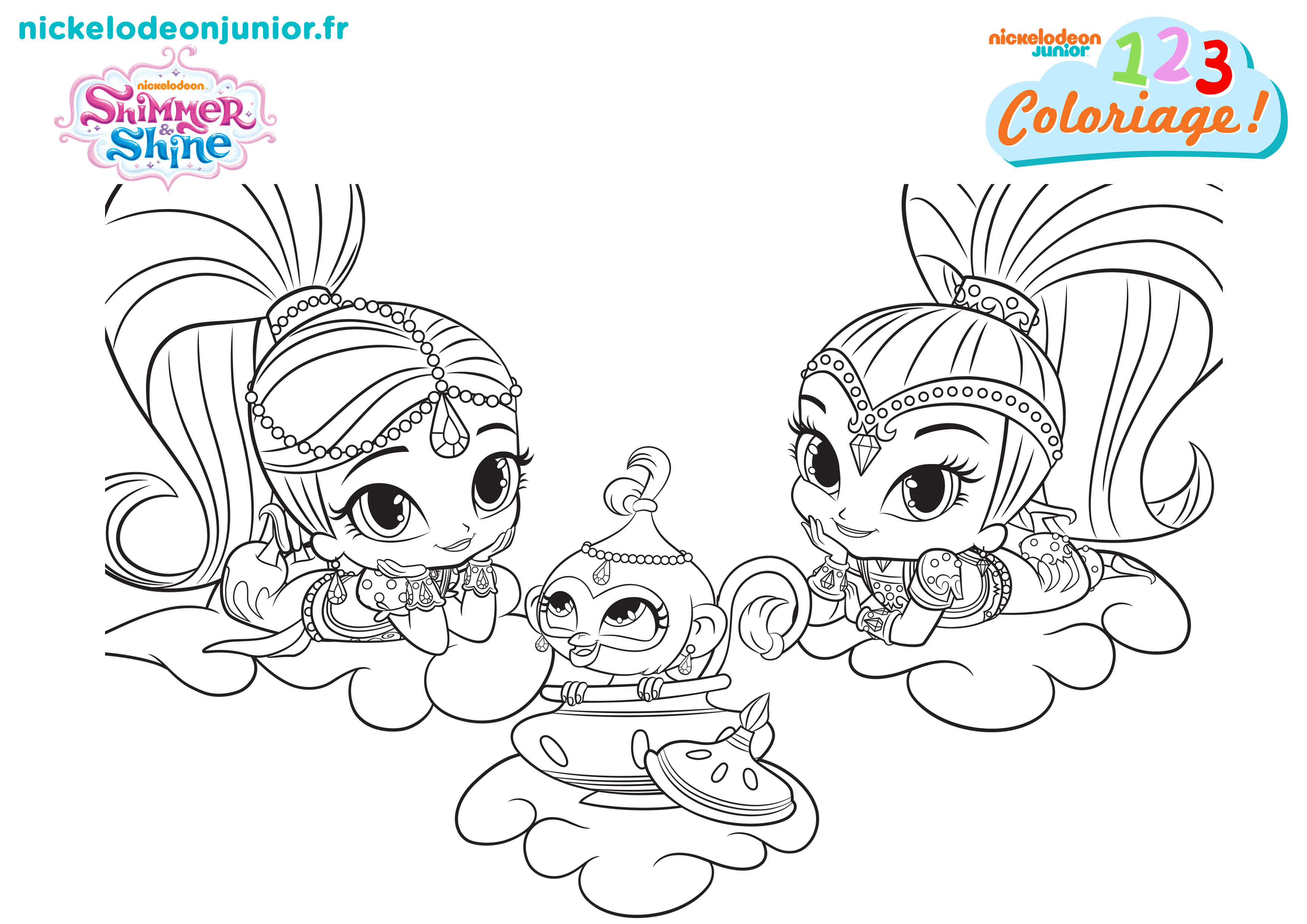 123 coloriage shimmer shine 120