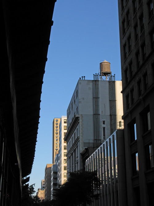 a water tower in an east side canyon, Manhattan, NYC