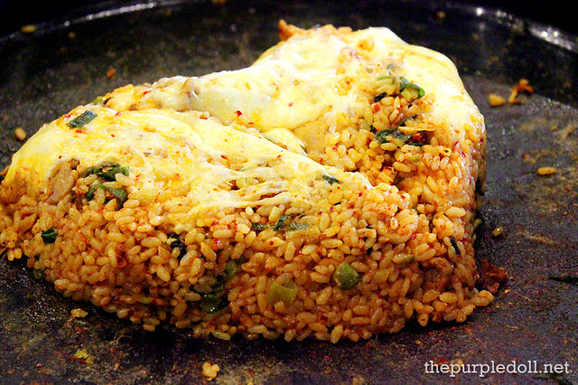 Yoogane's Marinated Chicken Galbi Fried Rice with Mozzarella