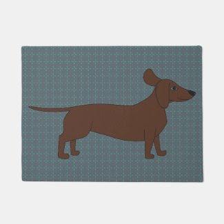 Dachshund Illustration on Doormat