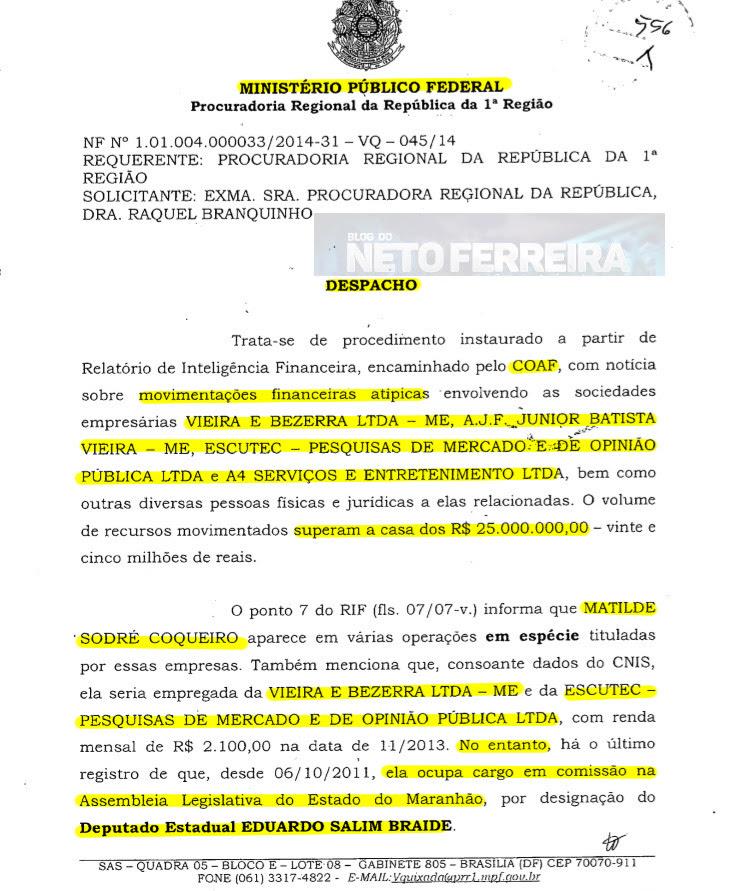 Despacho do MPF pedindo a instauração de investigação contra Eduardo Braide