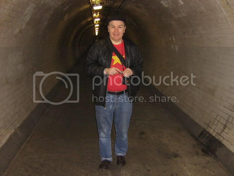 Neil under the river at Greenwich in the Tunnel