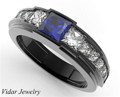 Black Gold Blue Sapphire wedding Ring For A Men   Vidar