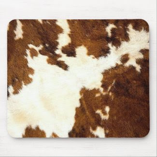 Cowhide Print Cowboy Up! mousepad