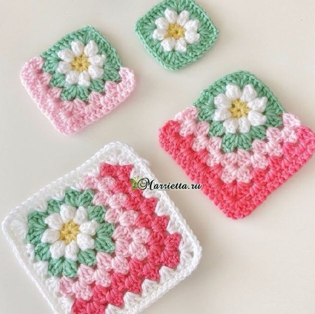 Delicate crocheted bedspread motifs with daisies (3) (631x629, 337Kb)
