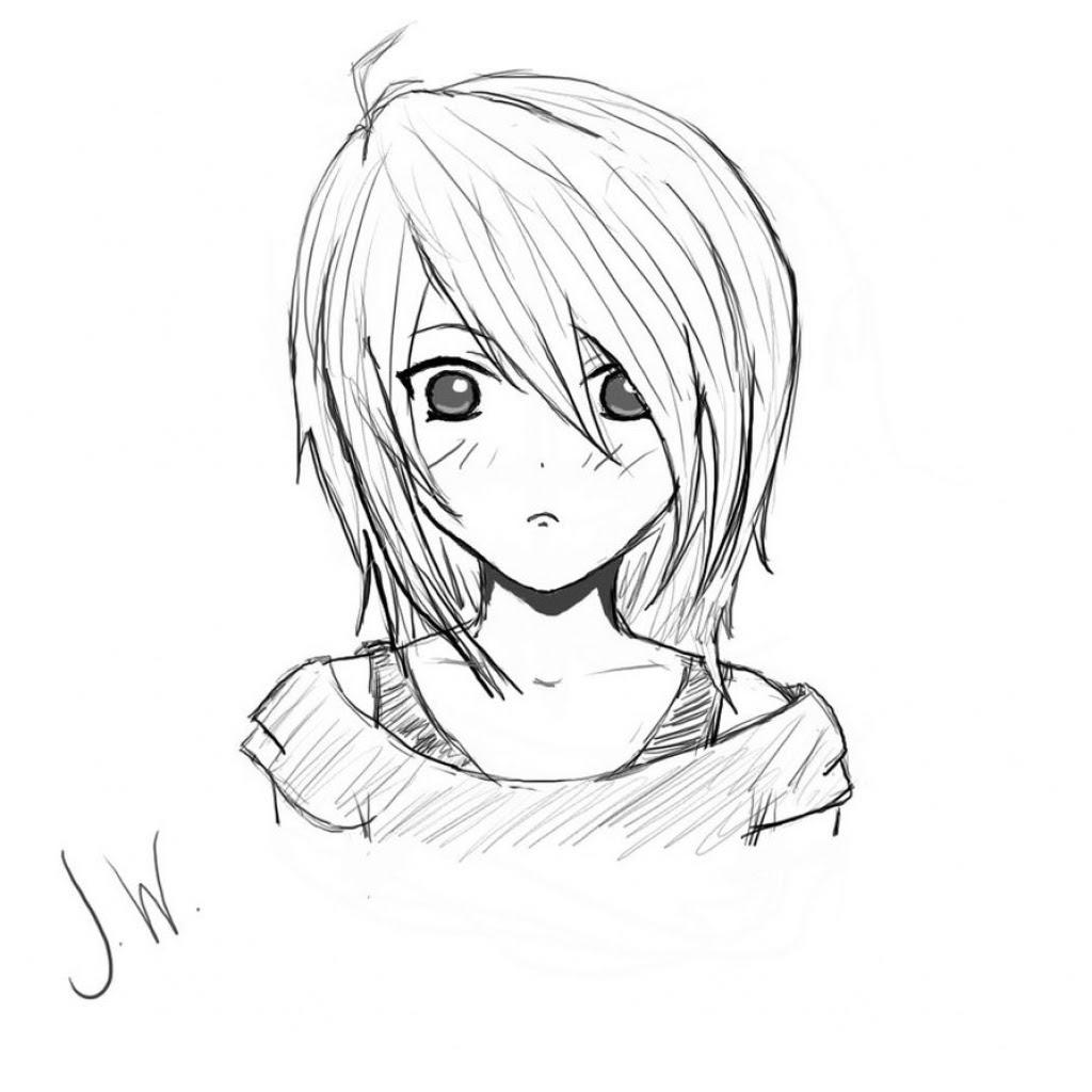 1024x1024 Photos Anime Girl Face Sketch,