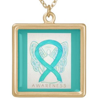 Teal Green Awareness Ribbon Angel Jewelry Necklace