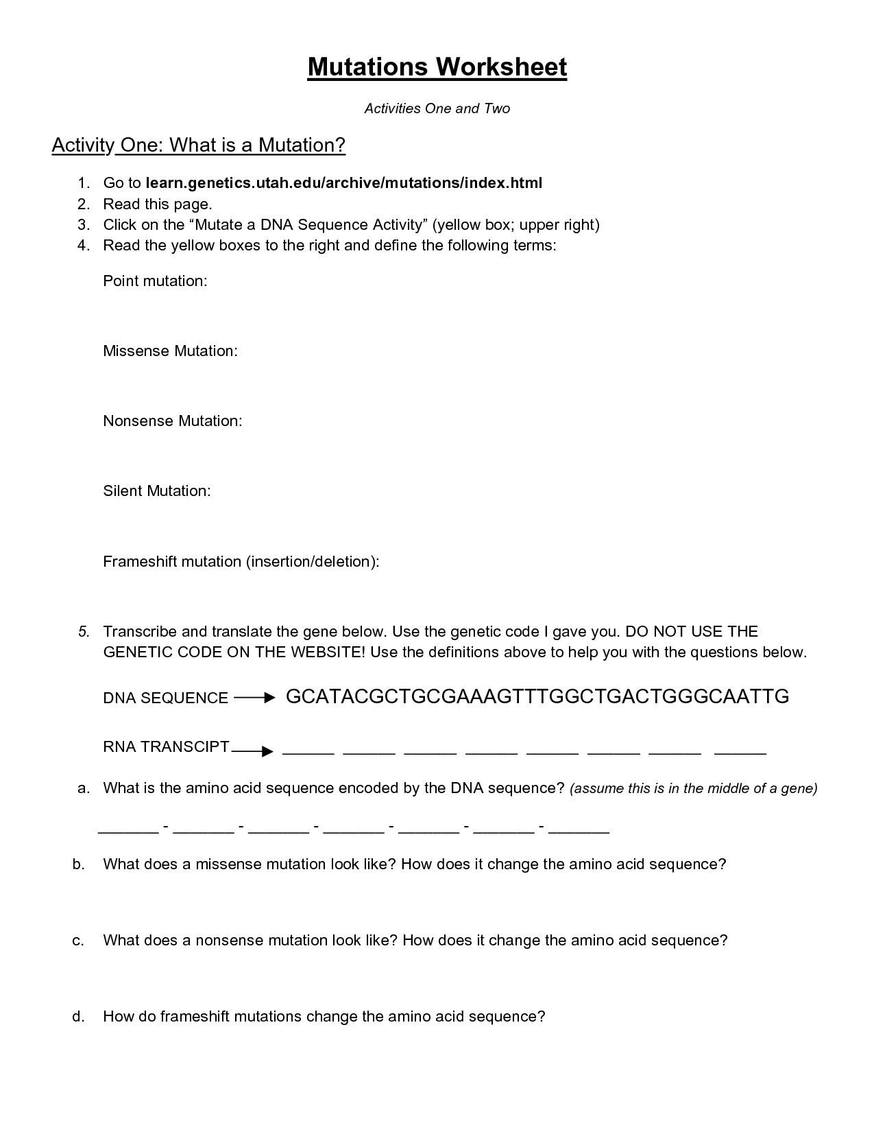10 Best Images of Cobb DNA Mutations Practice Worksheet Answers Learning  Mutations Worksheet