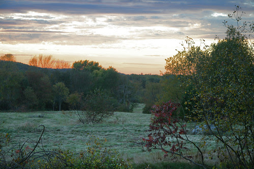 sunset over freshly mowed field